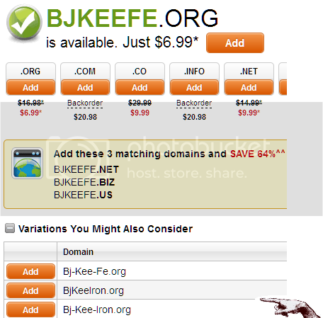 screenshot of ad offering domain name variations on my name, where the last two letters are considered chemically