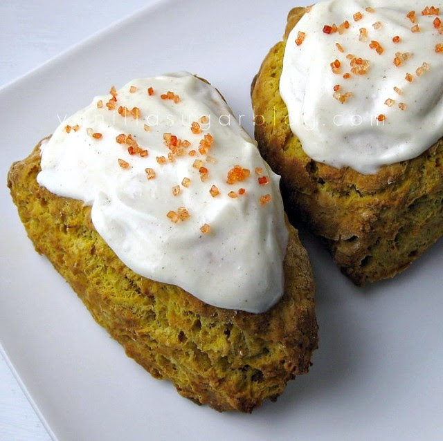 pumpkin scone w/ cinnamon-cider cream cheese glaze