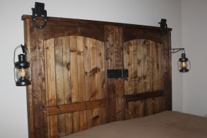 """Our completed """"new"""" old barn door headboard"""