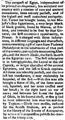 """Image of a contemporary newspaper report from 1801 of approximately three column inches describing the arrival of the Rosetta Stone in England"""