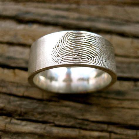 Custom Made Finger Print Wedding Band in Sterling Silver