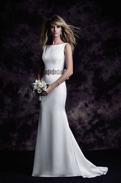 Satin Bateau Wedding Dress   Style #4614 in 2019   Wedding