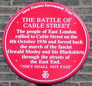 Αναμνηστική πλακέτα των γεγονότων της Cable Street