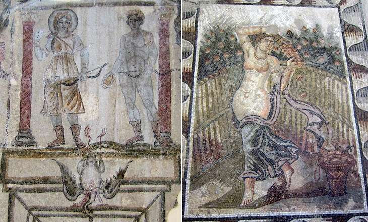 (left) Museum of Bardo: Diana and Apollo hunting a crane (late IVth century); (right) Museum of Carthage: woman pouring roses into a basket (from private baths at Sidi-Ghrib, 25 miles from Carthage) (Vth century)