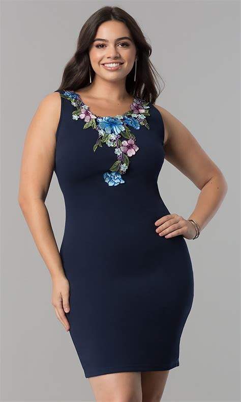 Embroidered Plus Size Wedding Guest Dress in Navy Blue