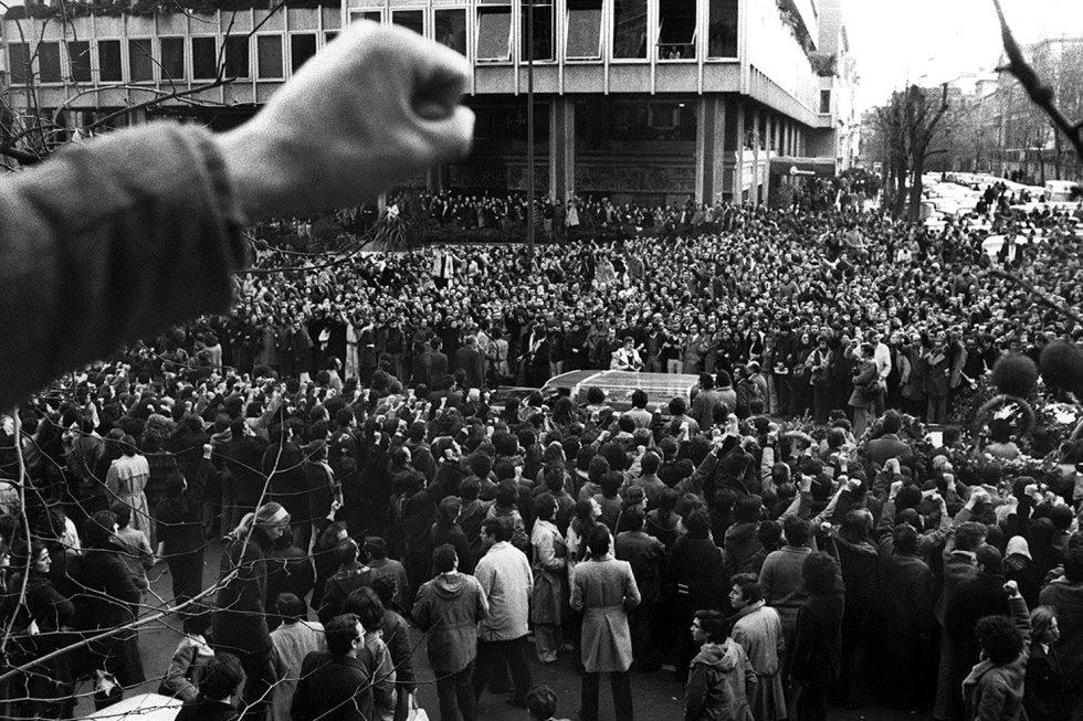 Funeral por los cinco abogados laboristas asesinados en su despacho de la calle de Atocha, 55, en Madrid, en enero de 1977, en una atentado terrorista perpetrado por la extrema derecha.