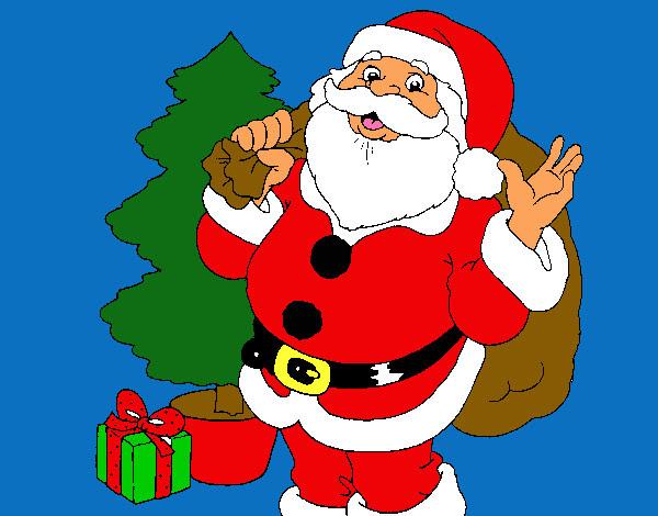 Dibujo De Santa Claus Y Un Arbol De Navidad Pintado Por Jesus 1233