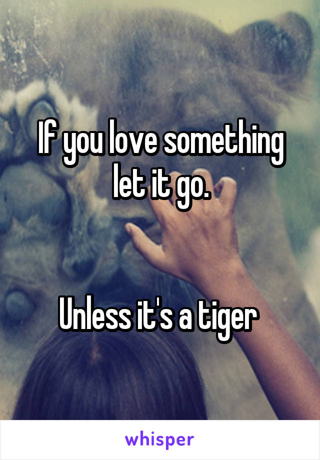 If You Love Something Let It Go Unless Its A Tiger