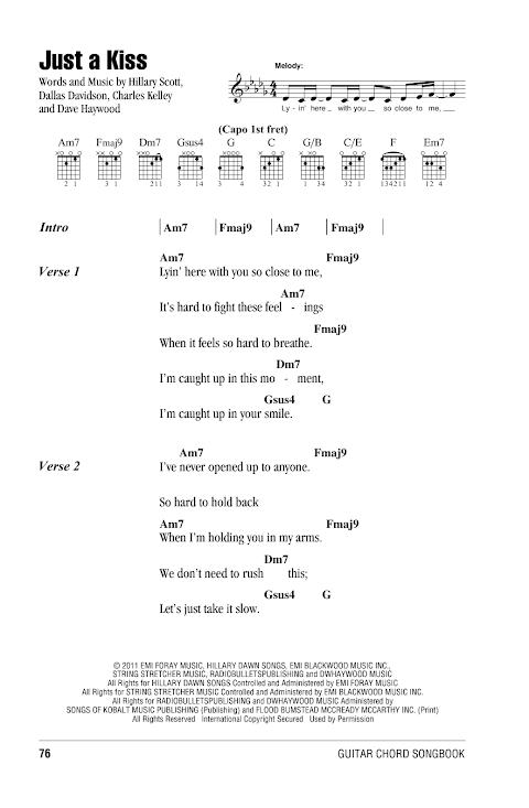 Just A Kiss Lady Antebellum Lyrics And Chords