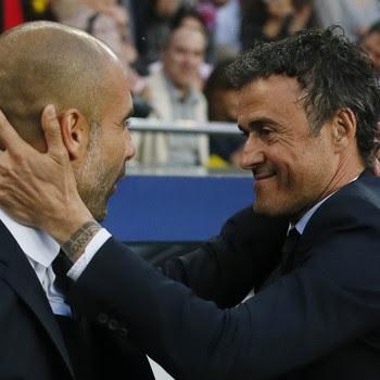 Guardiola e Luis Enrique antes de Barcelona x Bayern (Foto: Reuters)