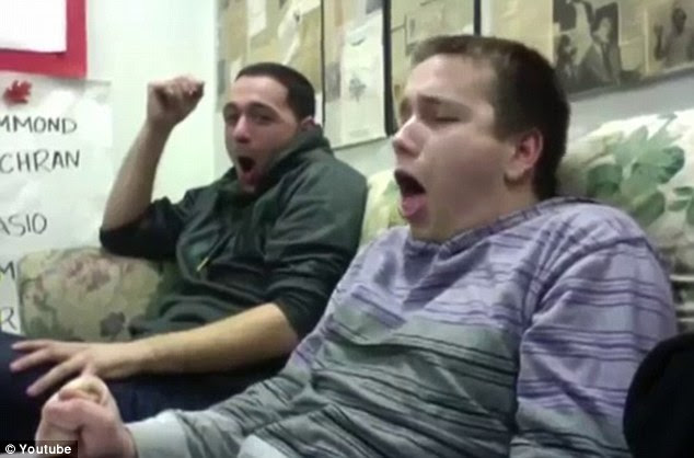 I'm gonna be sick: Two friends retch on screen as they watch a video of childbirth for the first time