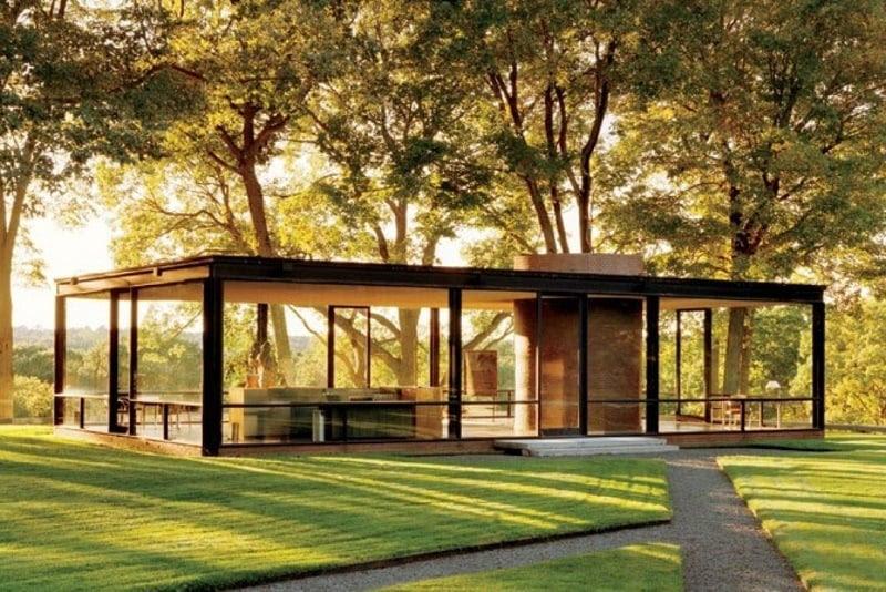 Sun Setting by Philip Johnson Glass House