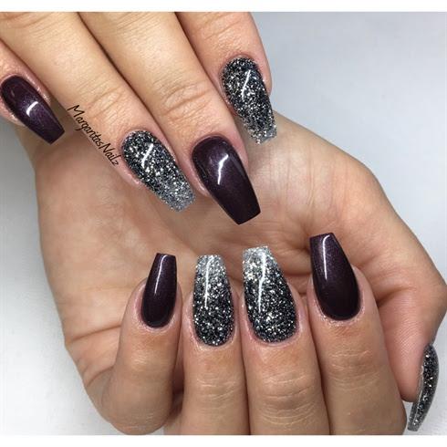 Black Glitter Ombre Coffin Nails