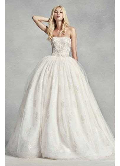 White by Vera Wang Tulle Beaded Lace Wedding Dress   David
