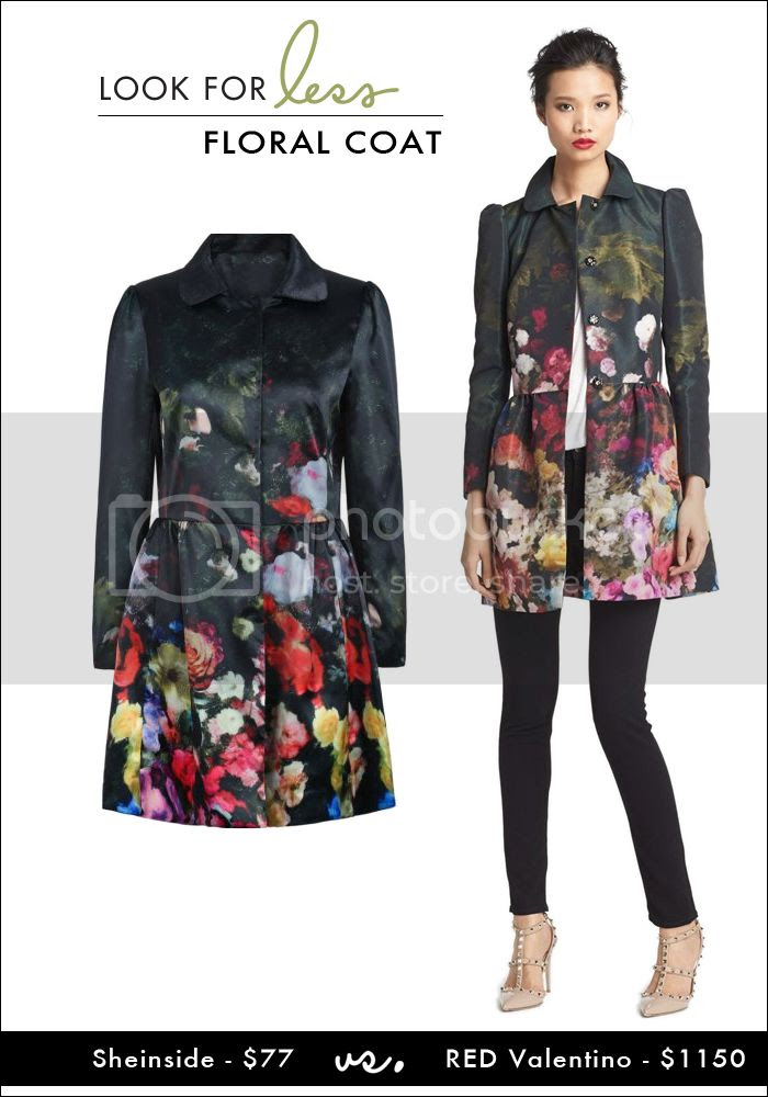 sheinside, RED valentino floral coat, ivory lane, atlantic-pacific, look for less, budget friendly looks, budget friendly coat