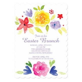 "Watercolor Easter Brunch Dinner Party Invitation 5"" X 7"" Invitation Card"
