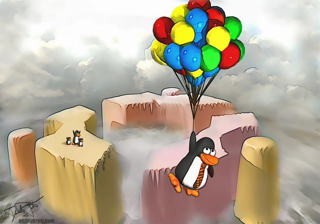 `Ubuntu Tux floats` to work by danoz2k9 on flickr