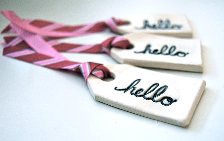 Ceramic hello gift tags