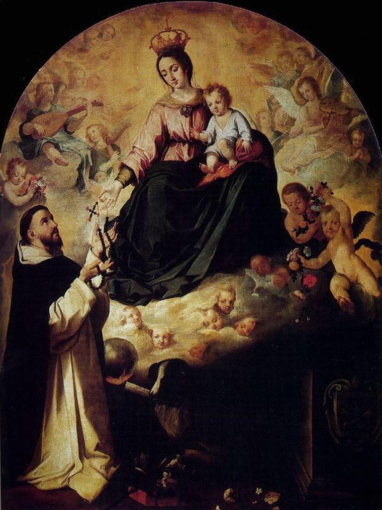 Resultado de imagen para La Santísima Virgen entrega el Rosario a Santo Domingo