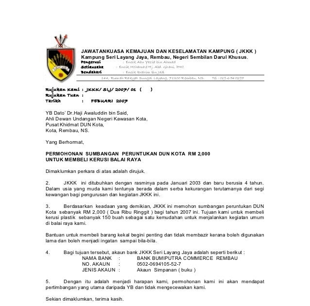 Contoh Surat Rasmi Kepada Menteri Besar Negeri Sembilan Surat Ras