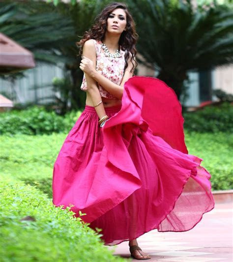 Burgundy Pleated Skirt with Crop Top   Indian Wedding