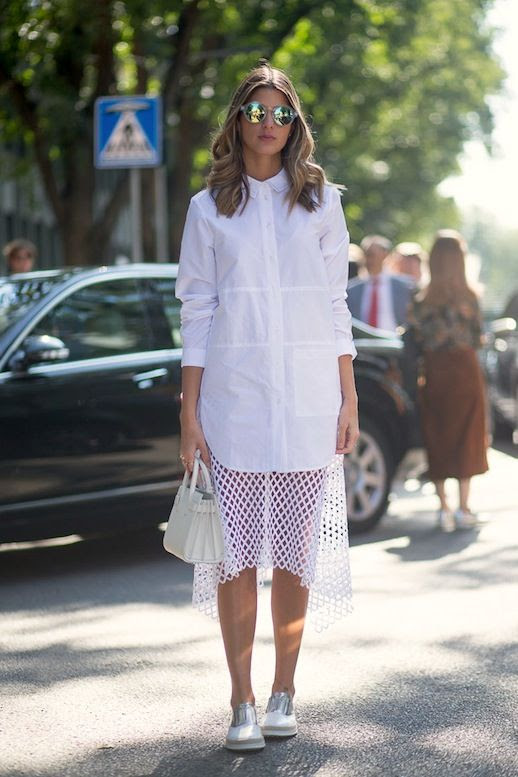 Le Fashion Blog Street Style Mfw Mirrored Sunglasses All White Spring Look Shirtdress With Mesh Hem Mini Bag Contrast Oxfords Via Harpers Bazaar