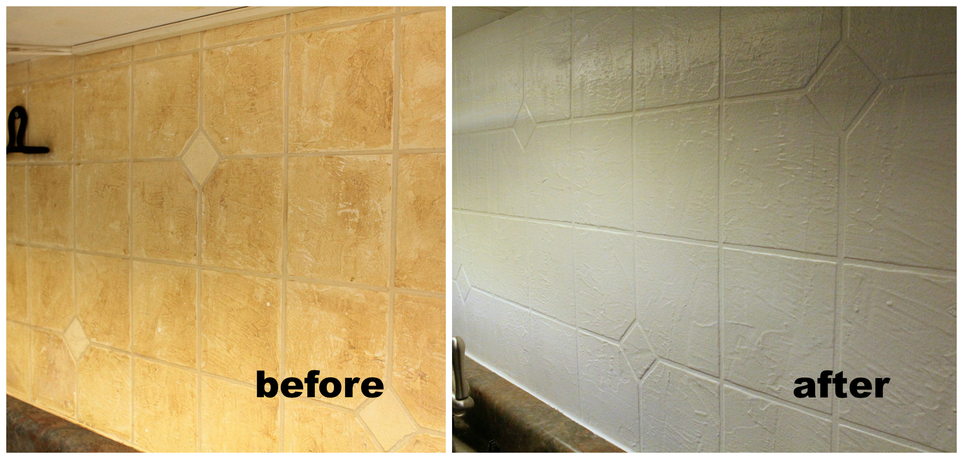 painted backsplash before and after