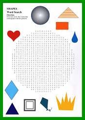 Shapes WordSearch For Kids