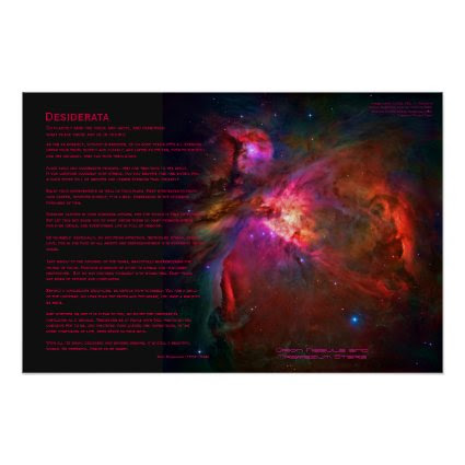 Desiderata Poem - Orion Nebula and Trapezium Stars Posters