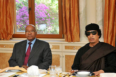 Republic of South Africa President Jacob Zuma with Libyan Leader of the Revolution Muammar Gaddafi during a state visit in Tripoli on May 30, 2011. Zuma representing the African Union called for an end to NATO airstrikes. by Pan-African News Wire File Photos