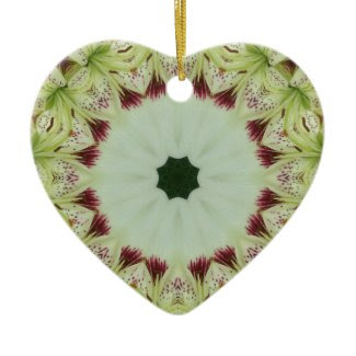 White Lily 16 Point Star Kaleidoscope Double-Sided Heart Ceramic Christmas Ornament