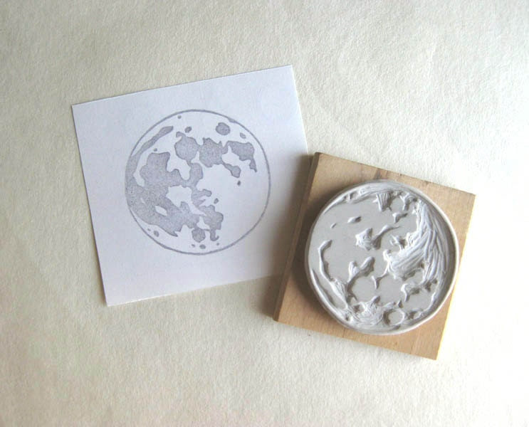 Full Moon - Large Hand-Carved Rubber Stamp