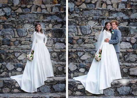 Modest wedding dress at Provo Castle   Utah Wedding