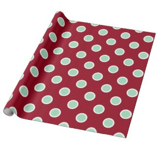 Mint Green Polka Dots on Maroon Christmas Paper Wrapping Paper