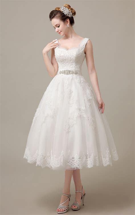 Ivory Wedding Dresses Tea Length 2017 Beaded Pearls Lace