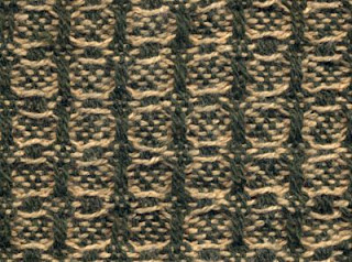 More huck boxes, yellow (non-shrinking) weft only, pg. 7, treadling F.