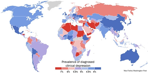A Stunning Map Of Depression Rates Around The World ...