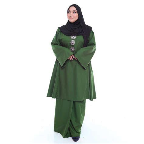 kurung pahang riau  size army green malaysia baju