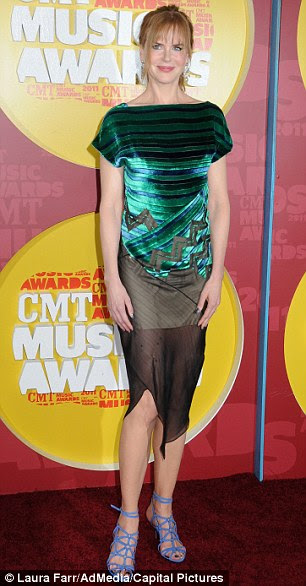 Feeling blue: Nicole Kidman's Proenza Schouler is hideous. I hate the bodice, tattered skirt and clashing shoes