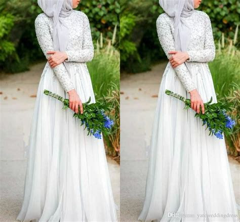 Discount Muslim Wedding Dresses With Hijab Simple Pure