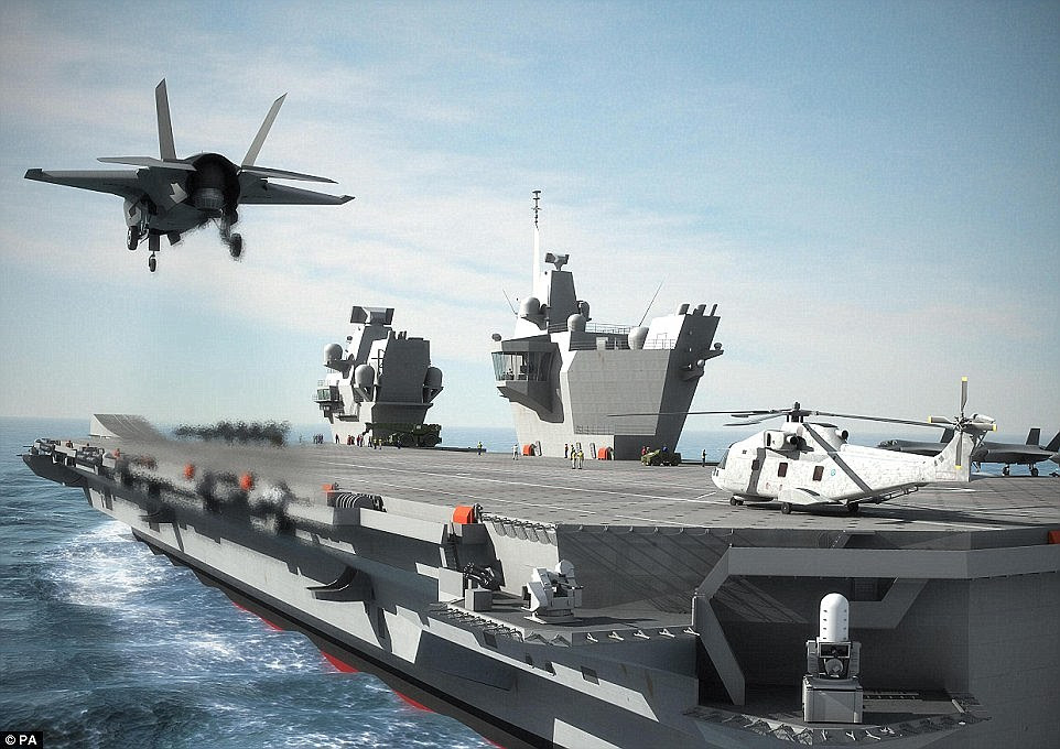HMS Queen Elizabeth - which is 72,000 tons and 932 feet long - has been described as the most 'potent' conventional weapon against Islamic State