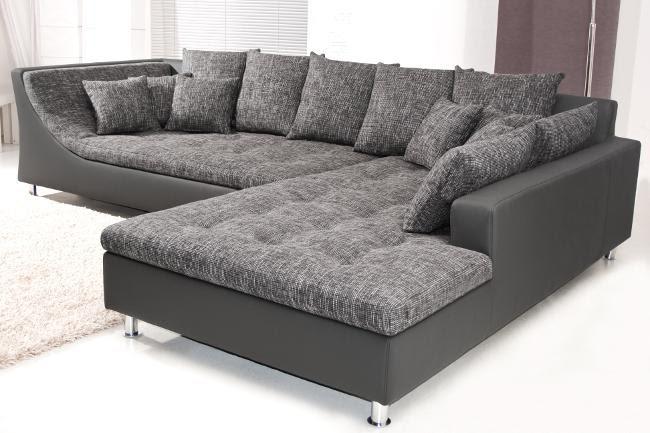 U wohnlandschaft sofa couch wohnzimmer strukturstoff leder moderne sofakollektionen - Wohnzimmer couch leder ...
