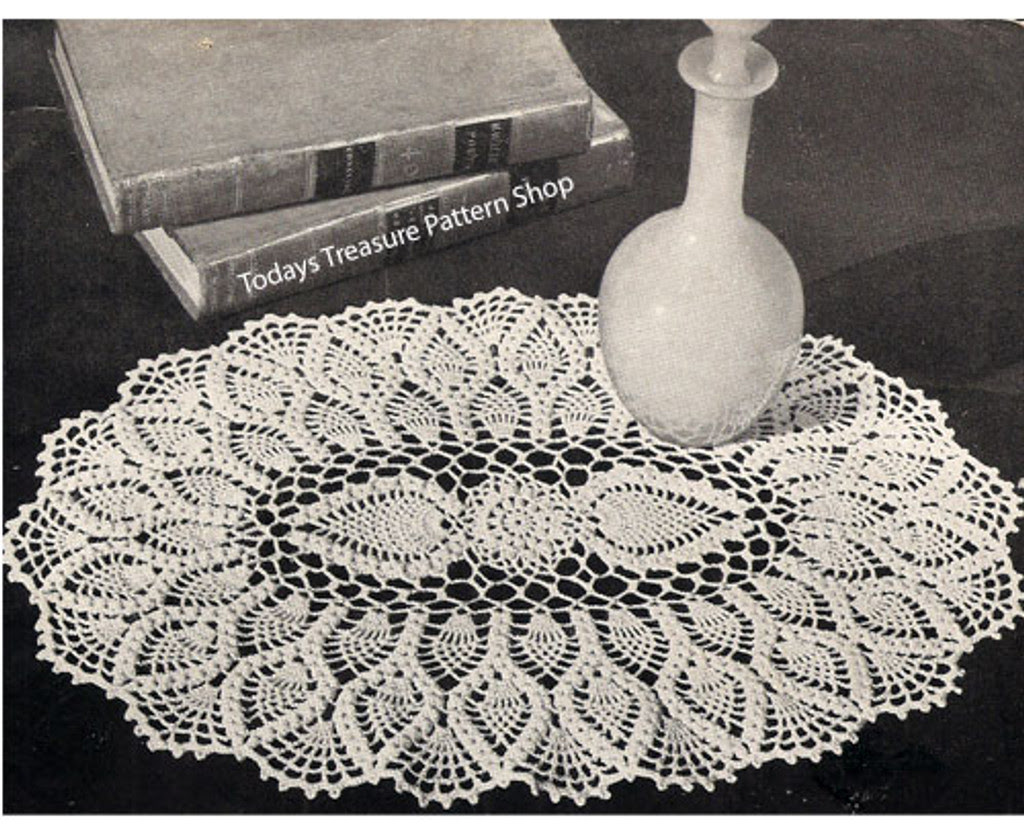 Pineapple Shell Crochet Oval Pineapple Doily Pattern