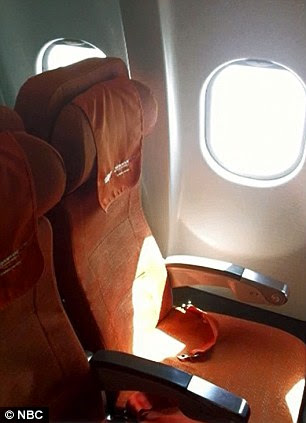Empty seat: But the flight has now departed Sheremetyevo Airport - and a photograph has emerged that shows his seat empty