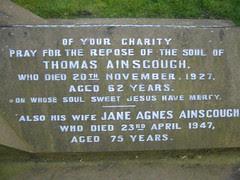 Thomas d.20th November 1927 age 62 & Jane Agnes Ainscough d.23rd April 1947 age 75