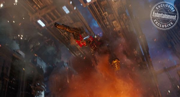 A screenshot of Optimus Prime leaping into battle on Cybertron... in BUMBLEBEE.