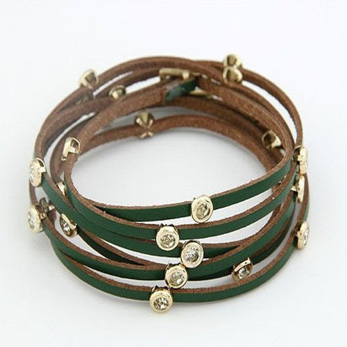High Quality 2014 New Fashion Multilayer Rhinestone Geniune Leather Rivets Charm Bracelets Bangles for Women Leather Jewelry Hot $4.85