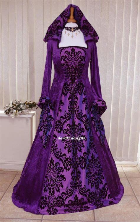 medieval gothic hooded velvet  taffeta purple dress