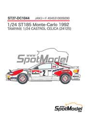 Calcas 1/24 Studio27 - Toyota Celica Marlboro Repsol Nº 2, 6, 10 - Carlos Sainz + Luis Moya, Armin Schwarz + Arne Hertz, Markku Alen + Ilkka Kibimaki - Rally de Montecarlo 1992 - para kit de Tamiya TAM24125