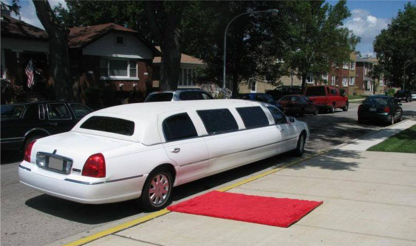 limo on wedding reception